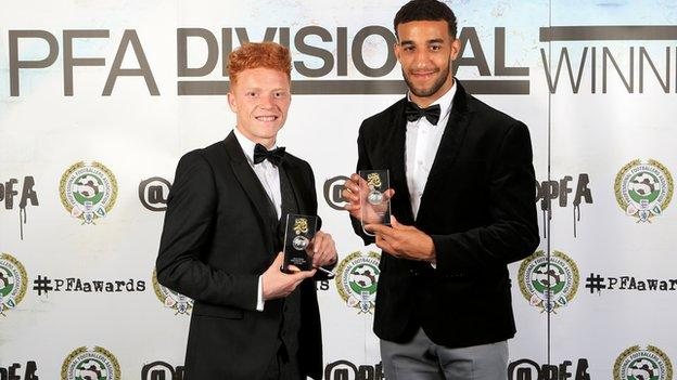 Ryan Woods (left) and Connor Goldson were both named in last season's PFA League Two team of the season