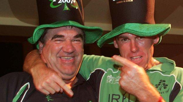 Roy Torrens (left) celebrates with then Ireland Trent Johnston after the country's shock World Cup victory over Pakistan in 2007