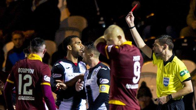 Ryan Flynn was shown a straight red for St Mirren on a miserable side for Oran Kearney's side
