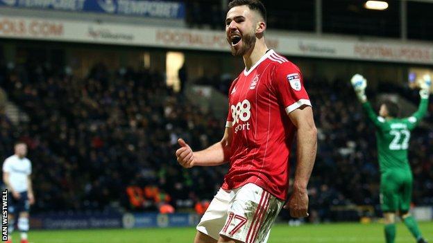 Ben Brereton celebrates his goal against Preston