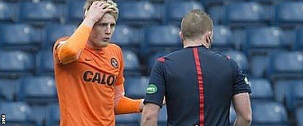 Coll Davidson appears stunned by the decision to award a penalty against him