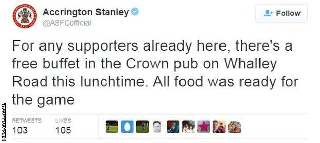 Accrington Stanley offer a free lunch after Portsmouth postponement