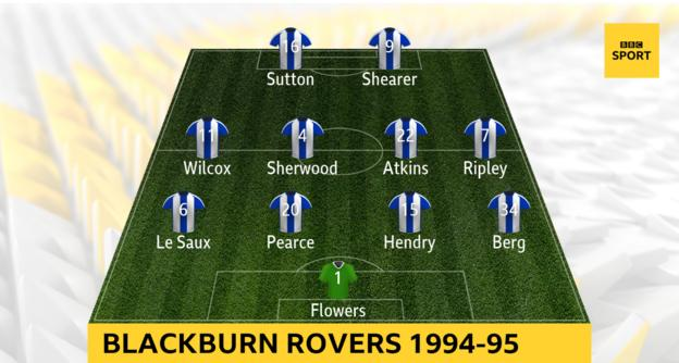 Nine Blackburn players played 30 league games or more during the 1994-95 season. After Jason Wilcox was injured, Graeme Le Saux played on the left wing, with Jeff Kenna at left-back. David Batty replaced Mark Atkins in midfield towards the end of the campaign