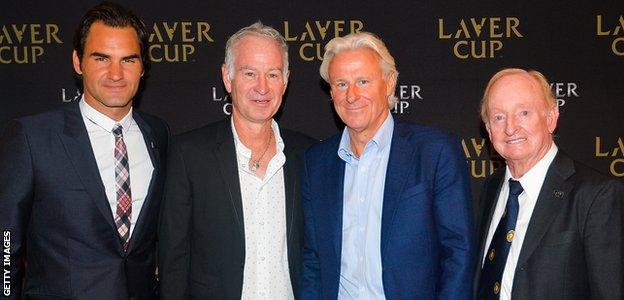 Roger Federer, John McEnroe, Bjorn Borg and Rod Laver
