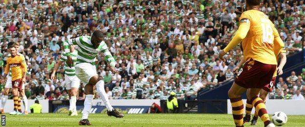 Olivier Ntcham scores for Celtic against Motherwell