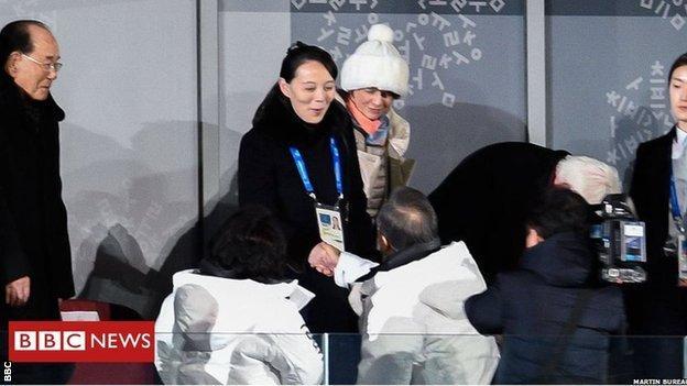 South Korea's President Moon Jae-in shook hands with North Korean leader Kim Jong-un's sister