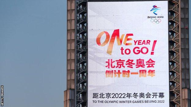 A countdown clock for the Beijing 2022 Olympic Winter Games stands at Beijing Olympic Park