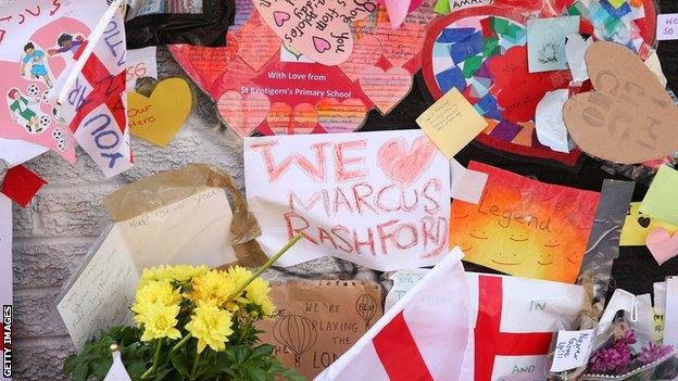Messages of support on the Rashford mural in Withington, Manchester