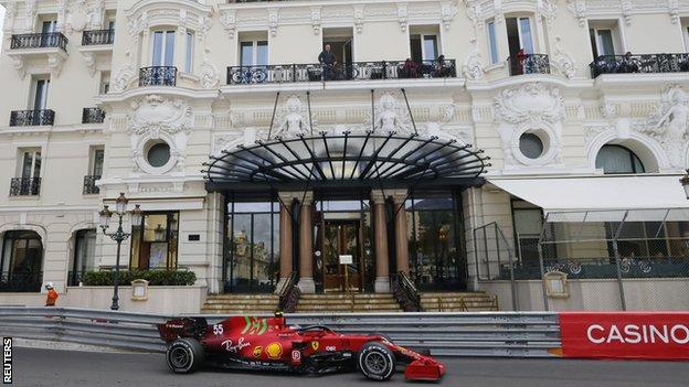 Carlos Sainz drives on track in Monaco