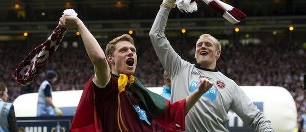 Marius Zaliukas and Mark Ridgers celebrate after battering Hibernian