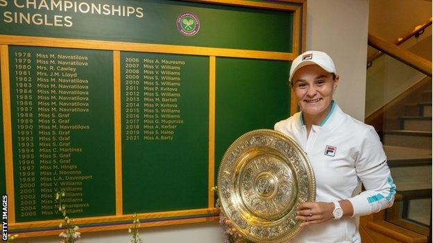Ashleigh Barty holds the Wimbledon Ladies' Plate