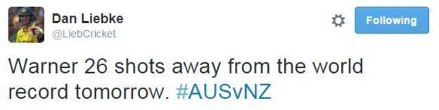An Australian journalist believes David Warner will have Brian Lara's world record 400 in his sights