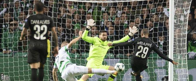 Kylian Mbappe scores for Paris St-Germain against Celtic