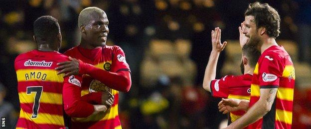 Partick Thistle players celebrate