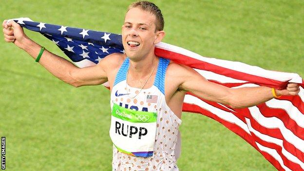 Galen Rupp celebrates winning bronze in the marathon at the 2016 Olympics