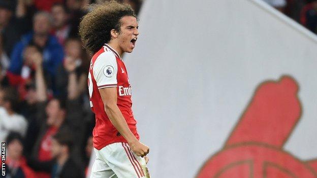 Matteo Guendouzi celebrates Arsenal's win over Aston Villa
