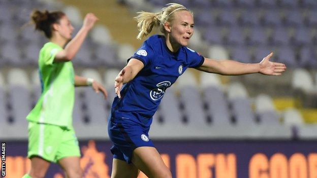 Chelsea Women striker Pernille Harder celebrates a goal against Wolfsburg