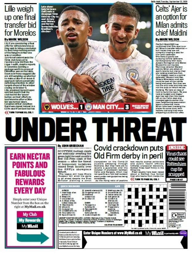 sports Daily Mail back page