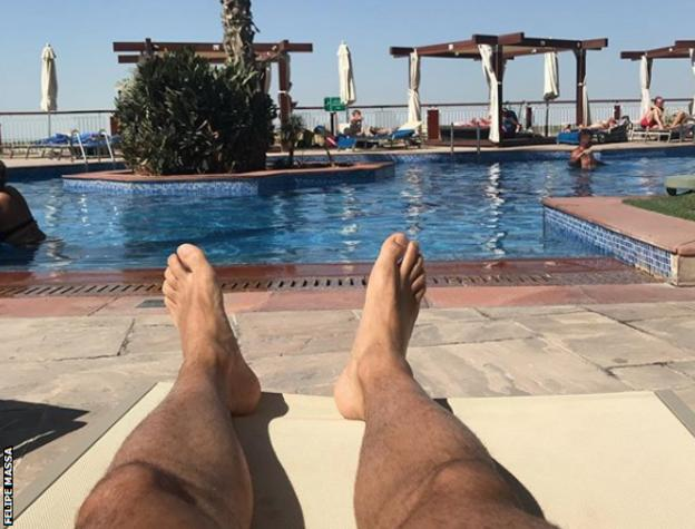 Felipe Massa showed his Instagram followers he was gearing up for his final race by relaxing