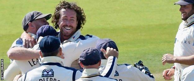 Yorkshire players celebrate a Ryan Sidebottom wicket