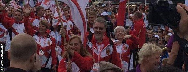 Jersey's team at the 2015 Island Games opening ceremony