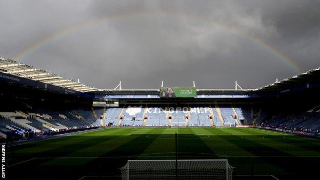 A rainbow above the King Power Stadium before Leicester's first home game since Vichai Srivaddhanaprabha's death