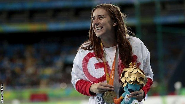Libby Clegg on the podium at the Rio Paralympics in 2016