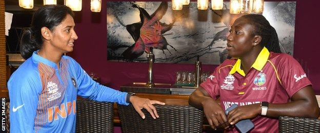 India captain Harmanpreet Kaur and West Indies skipper Stafanie Taylor