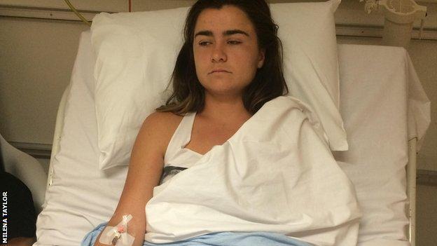 Gabriella Taylor in hospital