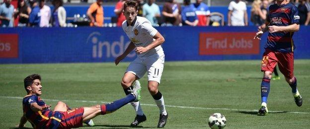 Adnan Januzaj in action against Barcelona