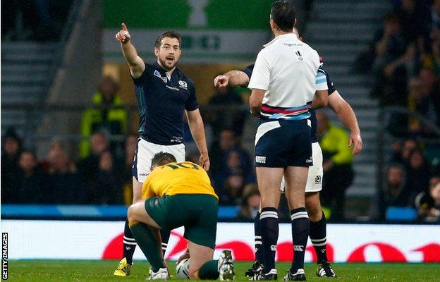 Scotland captain Greig Laidlaw questions Joubert's decision as Bernard Foley prepares to kick Australia in to the World Cup semi-finals