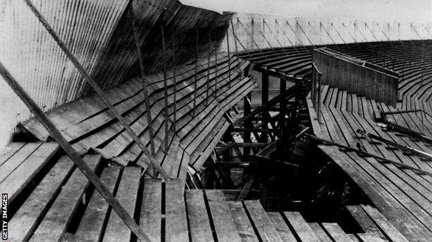 A section of the terracing that collapsed during the 1902 Ibrox disaster