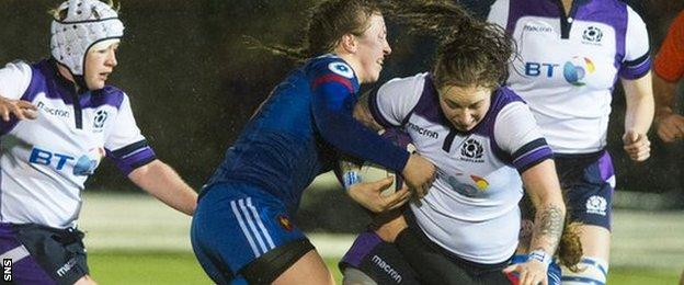 Scotland's Jade Konkel tackled by Soloch Milena of France