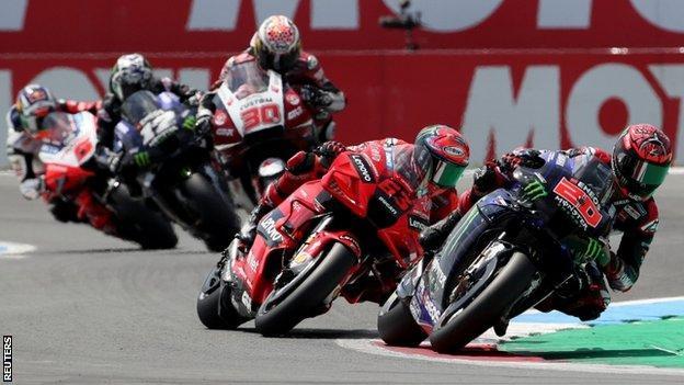 Fabio Quartararo leads the 2021 MotoGP race at Assen