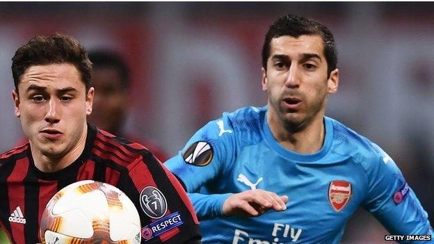 Henrikh Mkhitaryan in action for Arsenal against AC Milan