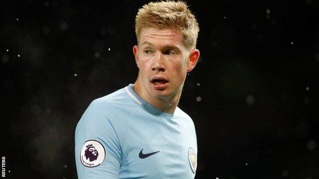 Kevin de Bruyne controlled the midfield in Man City's 2-1 win against Man Utd, having more touches than any other player in the match (102).