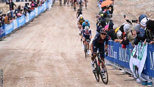 Egan Bernal rides to victory on stage nine