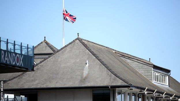 Aintree flag at half-mast