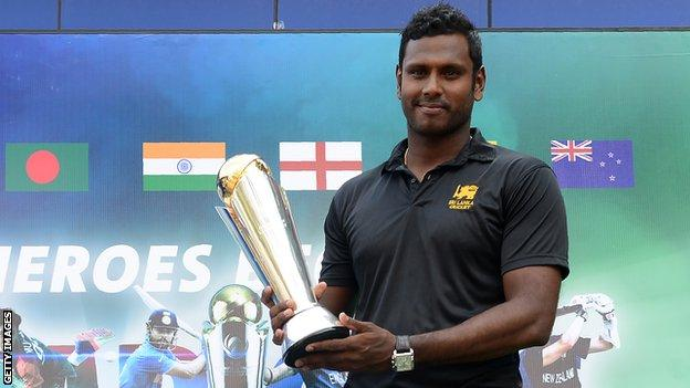 Sri Lanka captain Angelo Mathews with the ICC Champions Trophy
