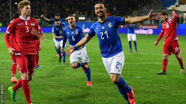 Fabio Quagliarella celebrates scoring for Italy