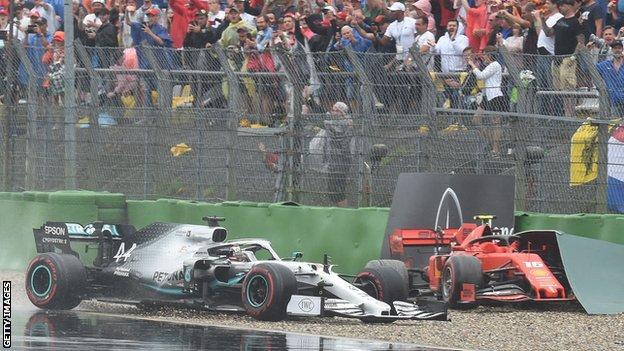 Hamilton and Leclerc crash at the German Grand Prix