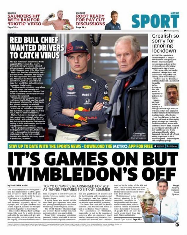 Metro back page on Tuesday, 31 March