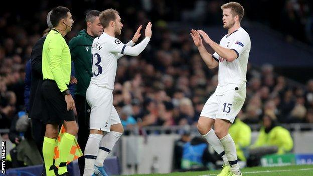 Eric Dier is replaced by Christian Eriksen
