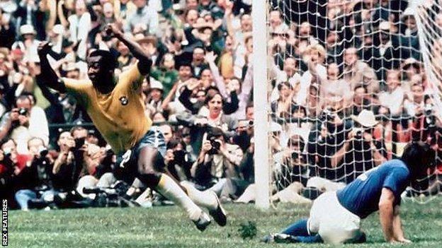 Pele celebrates a goal in the 1970 World Cup