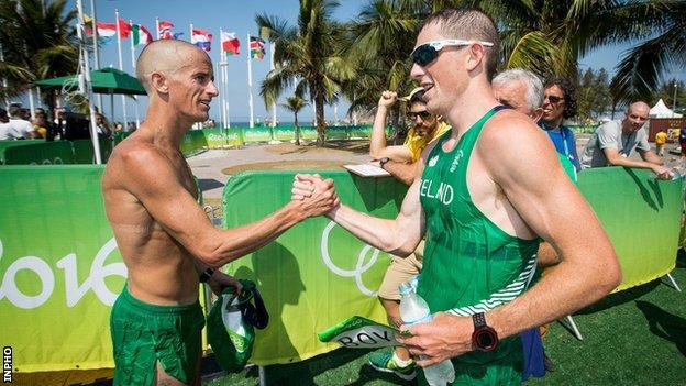Rob Heffernan (left) and Brendan Boyce after the 2016 Olympic 50km walk in Rio