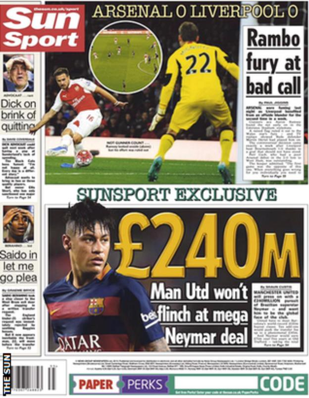 The Sun's back page story on Neymar