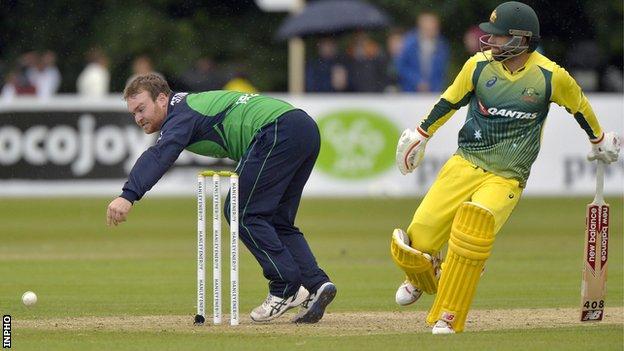 Ireland's Paul Stirling and Australia batsman Matthew Wade in action in the Stormont ODI in August