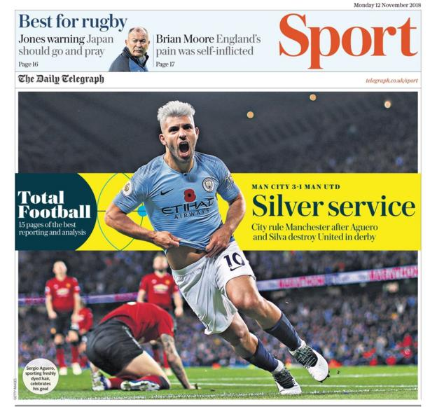 The front page of the Telegraph sport section