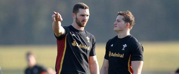 George North and Hallam Amos in training