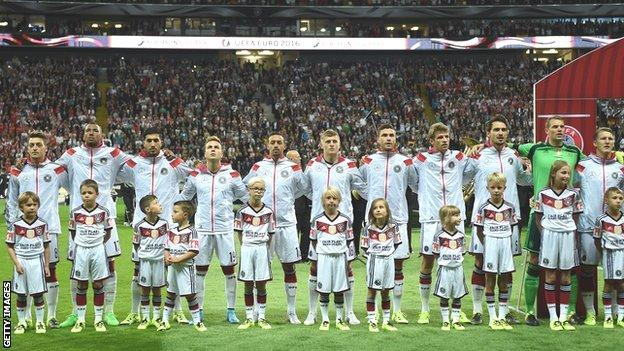 Germany line up against Poland